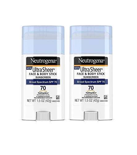 Neutrogena Ultra Sheer Non-Greasy Sunscreen Stick for Face & Body, Broad Spectrum SPF 70, 1.5 oz - Pack of 2