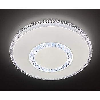 Runde LED Deckenlampe mit Switch Dimmer Glasschirm mit Goldrand Acrylfacetten