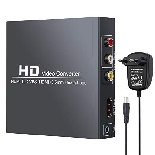 eSynic HDMI a RCA y HDMI Convertidor HDMI a HDMI +3RCA CVBS