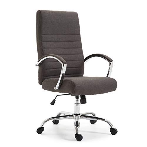 Ramroxx 37941 Chefsessel Bürostuhl Drehstuhl mit Armlehnen Schreibtischstuhl Stoff Dunkel Grau