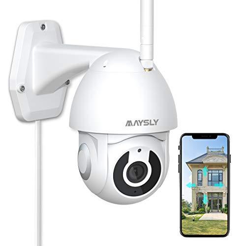 CCTV-Kamera Maysly 1080P Kabellos WiFi IP-Außenkameras für die Sicherheit zu Hause mit Schwenkneigung 360 ° -Ansicht Nachtsicht-Bewegungserkennung 2-Wege-Audio IP65 Wasserdicht Kompatibel mit Alexa