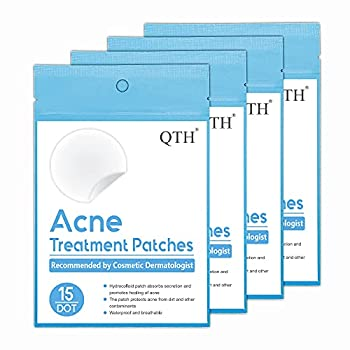QTH Acne Pimple Patches  4packs of 15 patches  10 mm Hydrocolloid Pimple Patches Blemish Protective Cover Acne Spot Treatment Hydrocolloid Zit Sticker Healing Dots for face