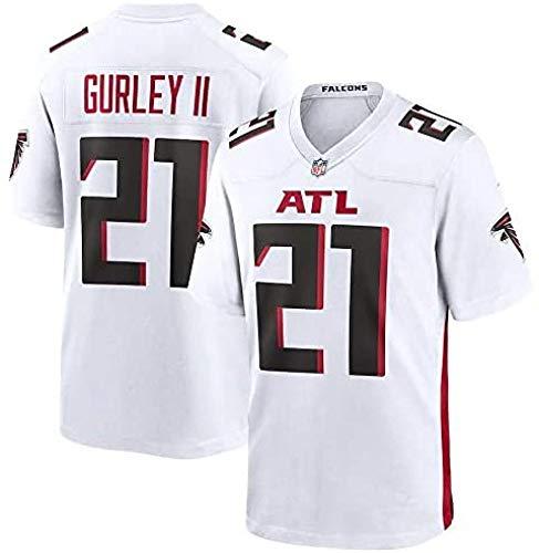 WSSW Majestic NFL Football Atlanta Falcons 21# Gurley II T-Shirt Jersey Bequem Und Atmungsaktiv Trikot,American Football Shirt,White-XXL