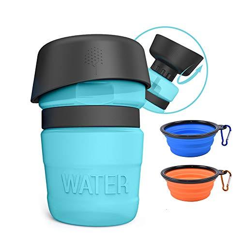 Leeko Hundetrinkflasche für unterwegs, 520ml Trinkflasche für Hunde mit Trinkschale, Auslaufsicher Faltbarer Hunde/Katze Wasserflasche für Outdoor (Blau)