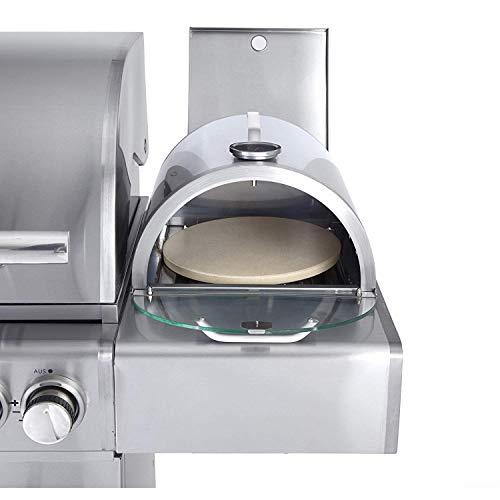 Allgrill Multi Kulti Pizzaboxx rund mit Pizzastein für alle-Gasgrills mit Seitenkochfeld