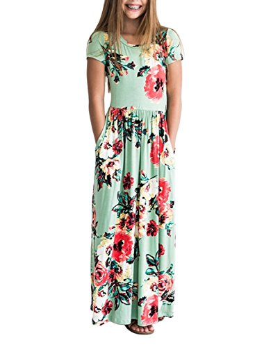 ZESICA Girl's Floral Print Pleated Pockets Short Sleeve Holiday Long Dress,Green,X-Large