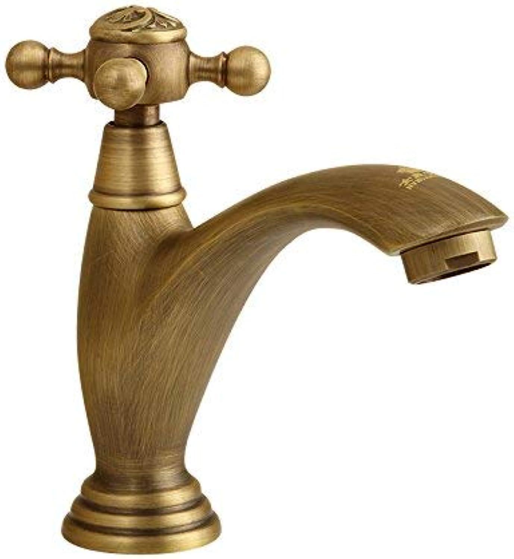 Oudan Faucet Copper Faucet, Brushed Retro Single Cold, Retro Single Handle Single Hole, Pattern Basin Faucet, (color   -, Size   -)