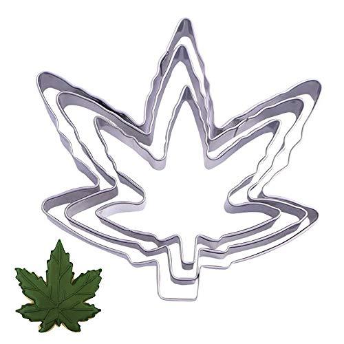 Juego de cortadores de galletas de hoja de marihuana – 3 piezas – Cannabis Hemb Weed Arce, molde de galletas con forma de hoja para fondant – Molde de acero inoxidable