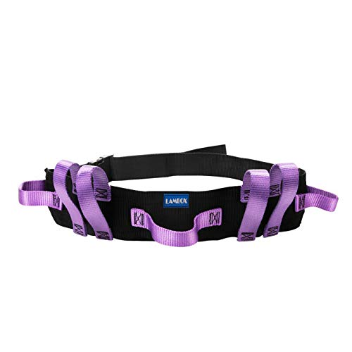 Gait Belt Transfer Walking Belt with Multi Handles- Walking Assist Aid for Elderly, Seniors, Therapy (7 Purple Handles 60',Plastic Release Buckle)