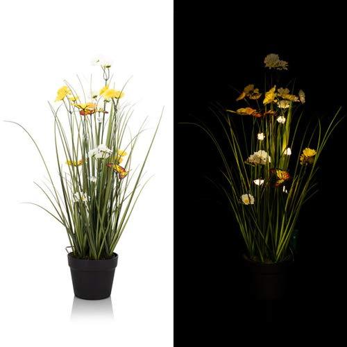 Künstliche Pflanze mit Schmetterling, inkl. LED-Beleuchtung und Timer, Pampasgras Outdoor geeignet - Kunstblumen Gras, Gräser - Deko Frühling und Sommer - Höhe 100 cm (Gelb)