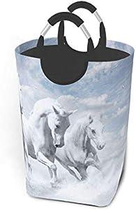 N\A White Horse Cool Cesto de lavandería Cubo de Lavado Cesto de Ropa Plegable con asa Almacenamiento de Ropa Sucia 50 litros