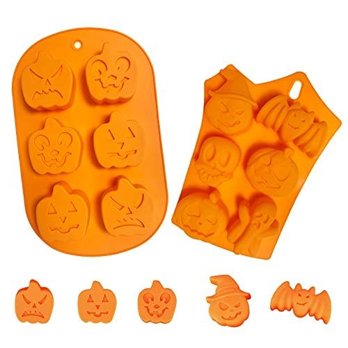 2PCS Stampo in silicone a forma per Halloween,strumenti da forno, stampo per gelato,-Stampo per decorare torte in silicone di alta qualità(zucca, strega, fantasma, per cioccolatini,caramelle)