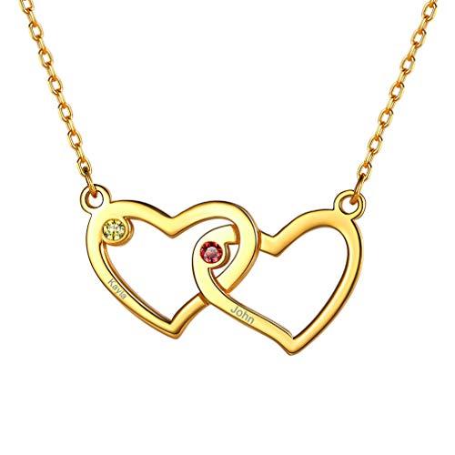 Custom4U Herzanhänger mit Geburtssteine S925 Silber Halsketten 18K Vergoldet Personalisierte Mutter 2...