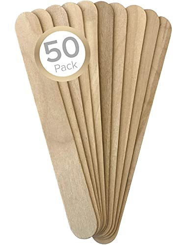 Lot de 50 bâtons de cire professionnels en bois pour épilation à la cire - Spatules en bois pour le visage et le maquillage