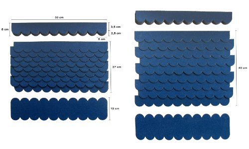 0,8 m²-2-Sets Mini Dachschindeln,Blau,Dachpappe,Vogelhäuser,Sandkastenüberdachung,Abdeckung,Bastlersatz,Briefkastendächer,Hundehütte,Kanichenstall,Nistkasten,Biberschwanz,Firsten