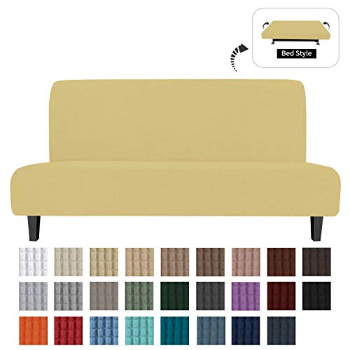 Easy-Going Stretch Sofa Slipcover Armless Sofa Cover Furniture Protector Without Armrests Slipcover Soft with Elastic Bottom for Kids, Spandex Jacquard Fabric Small Checks(futon,Navy)