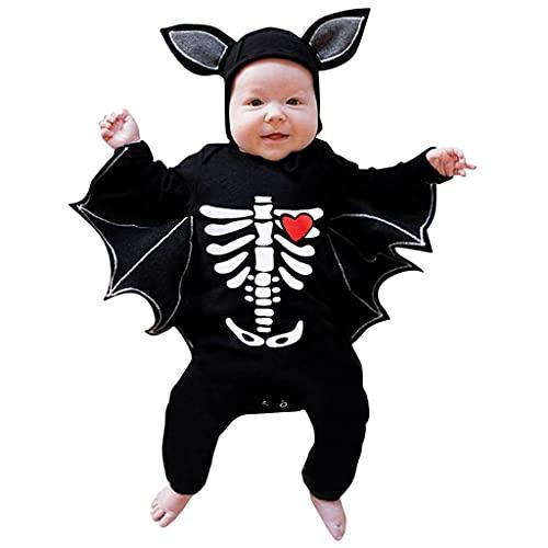 Fossen Kids Disfraz Halloween Nia Nio Bebe de Murcilago Manga Mameluco, Tops con Sombrero de Oreja - Otoo Invierno Moos Recien Nacido Lindo 3 Meses a 12 Meses