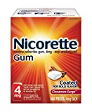 Nicorette 4mg Nicotine Gum to Quit Smoking Surge Flavored Stop Smoking Aid, Cinnamon 160 Count