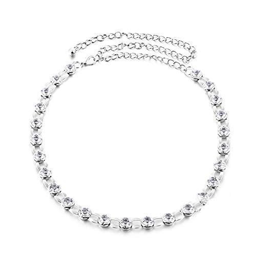 Trimming Shop Zilveren metalen taille riem dames ketting riem met klinknagels bezet met kristal doorzichtige strass, 110cm lang, 14mm breed