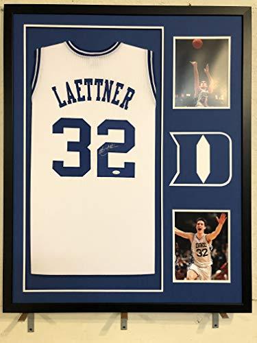 Christian Laettner Autographed Custom Framed Duke Blue Devils Jersey JSA Witnessed COA