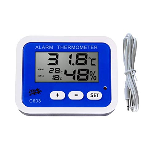 BEST ON ZON Indoor Digital Humidity Temperature Thermometer Hygrometer Meter Gauge with Large LCD Display for Home Office Indoor Living (Blue)