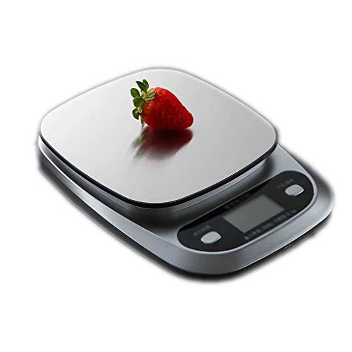 Báscula de cocina digital, báscula de cocina electrónica de acero inoxidable para alimentos, báscula con retroiluminación, función de tara, para hornear, blanco (10 kg / 1 g), 21 cm x 15,5 cm x 3 cm