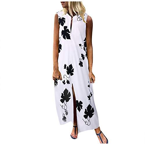 YANFANG Vestido Largo sin Mangas con Estampado de Hojas de Arce Informal Casual Talla Grande para Mujer