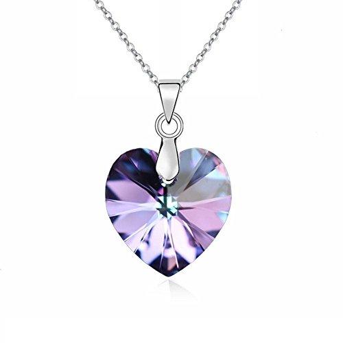 Amore Cuore Crystals from Swarovski Viola Collana con ciondolo 18 kt placcato oro bianco per donne 45 cm