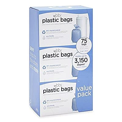 Ubbi Diaper Pail 75-Count Value Pack Plastic Bags