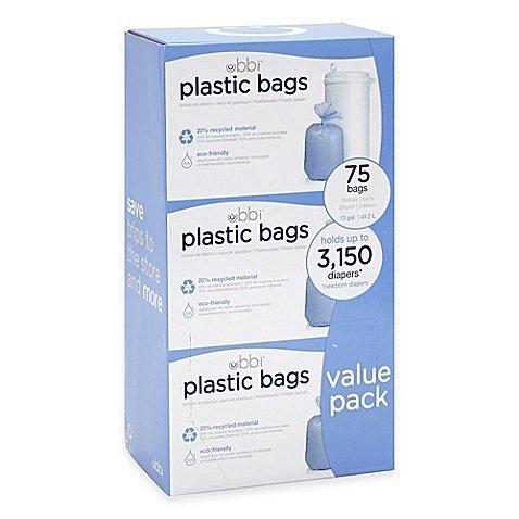 Ubbi Diaper Pail 75-Count Value Pack Plastic Bags