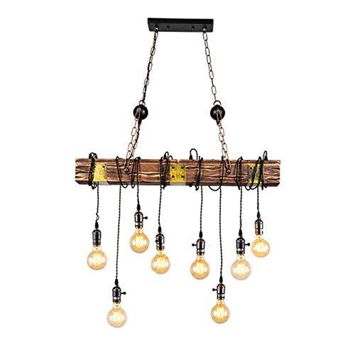 Lámpara colgante industrial retro Lámpara de techo de madera maciza rústica 8...