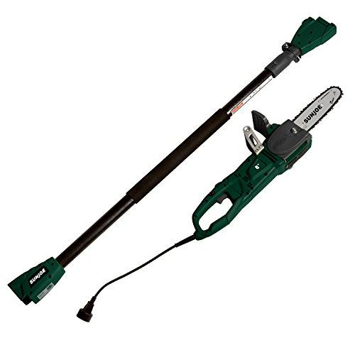 Sun Joe SWJ806E-HTG 8-Inch 8.0 Amp 2-in-1 Convertible Pole Chain Saw, Hunter Green