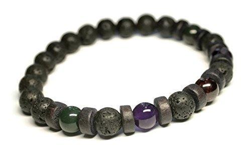 Unisex/Mens Aromatherapy Gemstone Bracelet for Health and Wellness/Anti Anxiety/Stress Relief/Lava stones/Garnet/Bloodstone/Amethyst