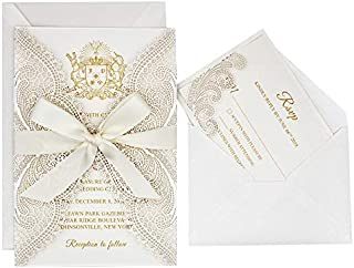 25-Pack Ivory Laser Cut Lace Wedding Invitations with RSVP Cards and Ribbon Bow, Elegant Invitation Set for Wedding/Bridal Shower/Birthday Party, 125 x 185mm (25 Invitations + 25 RSVP)