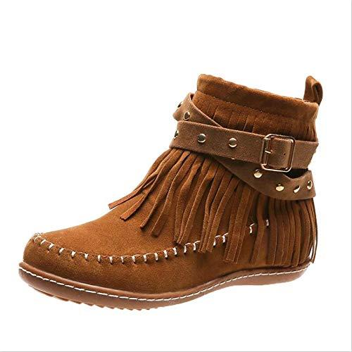 MTHDD Donne Vintage Stivali alla Caviglia delle Donne della Nappa Stivali Rivetto Signore di Cucito Punta Rotonda e Piatta Femminile Zip Scarpe,Marrone,39