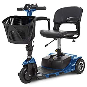 Vive 3-Wheel Mobility Scooter – Electric Powered Mobile Wheelchair Device for Adults – Folding, Collapsible and Compact for Travel – Long Range Power Extended Battery with Charger and Basket Included