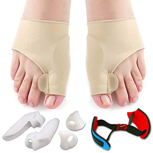 Bunion Corrector & Bunion Relief Protector Sleeves Kit - Treat Pain in Hallux Valgus, Big Toe Joint, Hammer Toe, Toe Separators Spacers Straighteners Splint Aid Surgery treatment-7Pcs