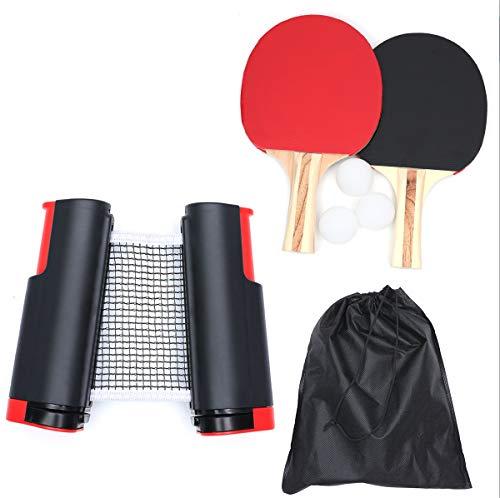 Tischtennis Set - Tischtennis Gesetzt, Ausziehbares Tischtennisnetz Set mit 1 Einziehbares Netz, 2 Tischtennisschläger, 3 Tischtennisbälle,1 Tasche, Tischtennis-Set Für Den Heimgebrauch Im Freien