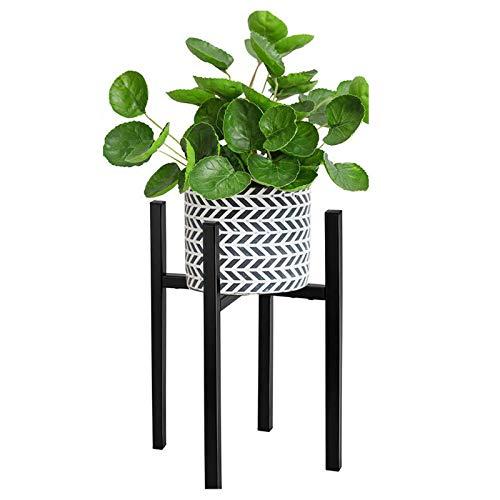 Soporte para plantas, para interiores y exteriores, estante de exhibición en maceta, extensible, ancho de altura ajustable, fácil de instalar para balcón, terraza, jardín, pasillo, negro, metal