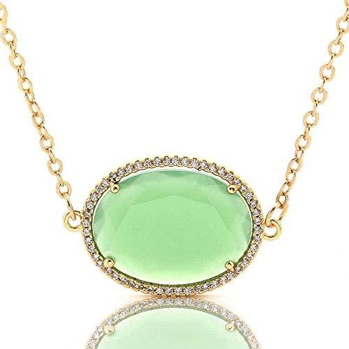 NC188 Collares Pendientes de Piedra para Mujer, con Diamantes de imitación envueltos, Cuarzo Natural, cabujón Ovalado, Verde pálido, Colgante, Collar con Cadena Dorada, Regalo