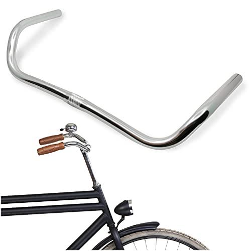 LOEVELOSI Klassischer Fahrradlenker Hollandrad Vintage Design Aluminium Lenker Silber für Retro Rennrad Hollandfahrrad Damefahrrad Herrenrad City Bike Handlebar Damen & Holland Fahrrad Hollandbike
