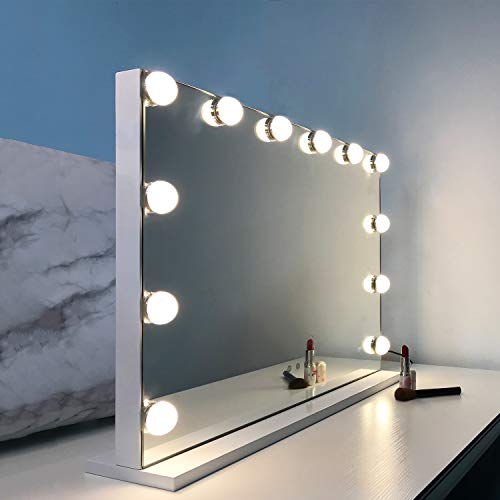 WAYKING Makeup Mirror with Lights, Hollywood Lighted Vanity Mirror with Touch Screen Dimmer, Tabletop Mirror with USB Charging Port, 3 Color Lighting Modes, White (H17.3 X L22.8 Inch)…