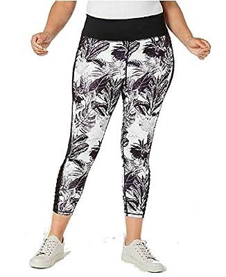 Ideology Womens Plus Printed Fitness Athletic Leggings B/W 2X Black