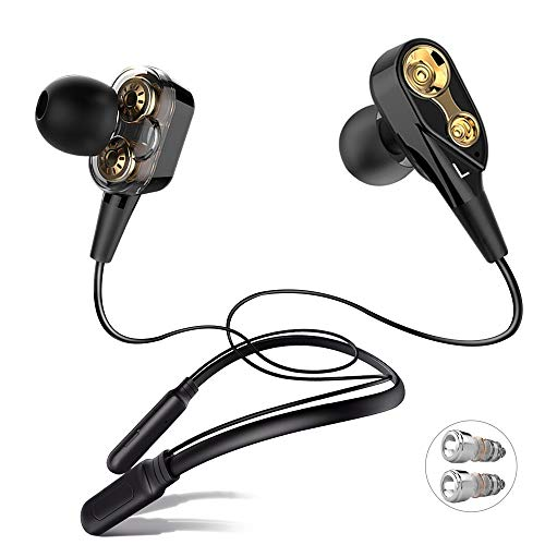 ALWUP Bluetooth Headphones, Wireless Neckband Earphones Dual Drivers with Mic in-Ear Earbuds Bluetooth Stereo Headset Microphone Sports Running Gym Double Dynamic Units Hybrid Headphones Deep Bass