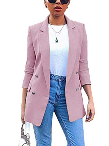 Minetom Damen Elegant Langarm Blazer Sakko Einfarbig Slim Fit Revers Geschäft Büro Jacke Kurz Mantel Anzüge Bolero mit Tasche Violett 40
