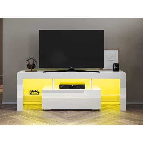 SONNI Armadio per TV, Mobile da TV, Porta la TV con Telecomando e Illuminazione LED a Orientabile Il Colore, 130x39x30cm - Bianco