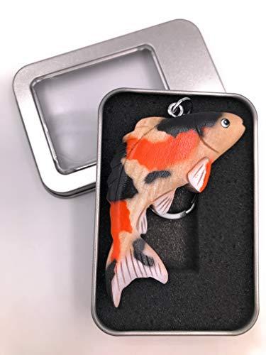 Onwomania Schlüsselanhänger Holz Koi Fisch Aquarium Tier Wasser Karpfen Zucht Anhänger in Geschenkbox