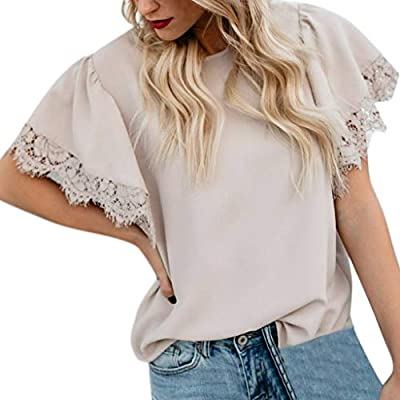 RAINED- Women Short Sleeve Tunic Top Plain Casual T Shirts Mesh Ruffle Blouse Lace Patchwork Slim Fit Tops Legging