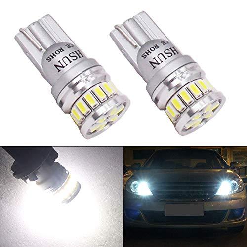 HSUN 194 LED Bulb 6000K White 168 2825 12961 175 W5W T10 Wedge 12V-24V Extremely Bright Canbus Error Free for Car Side Marker Indicator Backup Parking Interior Dome Reading Light 2 Pack