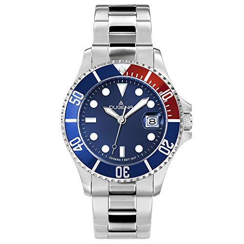 DUGENA Herren-Armbanduhr 4460774 Diver, Quarz, blaues Zifferblatt, Indexe, Edelstahlgehäuse, gehärtetes Mineralglas, 30 bar